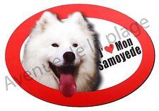 """Magnet chien """"J'aime mon Samoyede"""" frigo/voiture idée cadeau NEUF"""