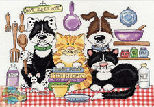 Cross Stitch Kit ~ Design Works Home Sweet Home Dogs & Cats in Kitchen #DW2857