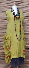 LAGENLOOK*LINEN BEAUTIFUL QUIRKY LARGE POCKETS LONG DRESS*LIME* Size 48-50-52