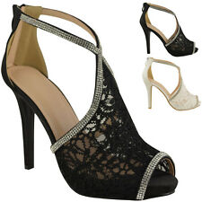 LADIES WOMENS WEDDING SHOES HIGH HEELS LACE DIAMANTE BRIDAL PEEP TOE SANDAL SIZE