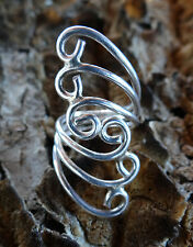 WRAP SWIRL OPEN SCROLL FILIGREE BOHO HIPPIE STERLING SILVER 925 RING 7.5 7.75 8