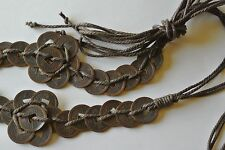Chinese Coin & Raffia Belt Hand-Made Original Wms 28 inches/Nice