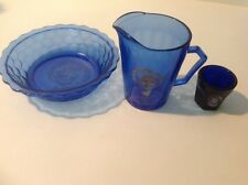 3pc Lot Vintage 1930's SHIRLEY TEMPLE Cobalt Blue Milk Pitcher Cup Cereal Bowl