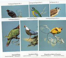 Complete unused set of  of six coloured postcards of Endangered Birds by G Busby
