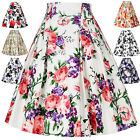 Womens Vintage Style 50s Retro Cotton Floral 9 Pattern Pinup Skirt Midi Dress