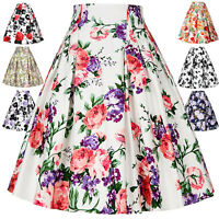 Ladies Vintage Retro 40s 50s Full Circle Swing Floral Skirt Skater A Line Dress