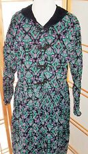 Eddie Bauer Cotton Farm Dress Grunge Black Turquoise Paisley Vintage 90s SZ L