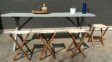 Set Of 4 Vintage Folding Wood Camp Stool White Canvas Chair Tailgate Mid Century
