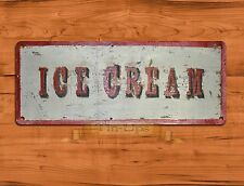 "TIN-UPS TIN SIGN ""Ice Cream"" Dessert Kitchen Rustic Wood Wall Decor"