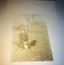 Antique American Young Woman, Pet Black Cat! Animal Real Photo Postcard! RPPC!
