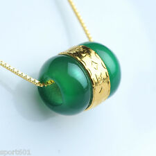 1PCS New 999 24K Yellow Gold & Natural Jade Green Lucky Bead Pendant
