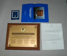Franklin Mint Star Trek USS ENTERPRISE NCC-1701-D OFFICIAL COMMISSIONING PLAQUE