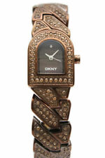 New DKNY Stainless Steel Brown Crystals Women Dress Watch 20x25mm NY4230 $150