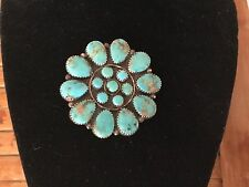 Vintage 1940's Navaho TURQUOISE Sterling Silver Flower Design Pin