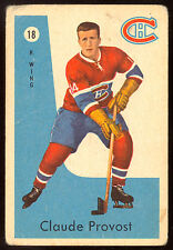 1959 60 PARKHURST HOCKEY #18 CLAUDE PROVOST VG MONTREAL CANADIENS CARD