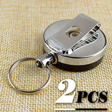 2x Metal Retractable Pull Chain Reel ID Card Badge Holder Reel Recoil Belt Clip