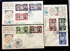 "3 First Day Covers Monaco 1956 ""Royal Wedding"" 8 Different Stamps"