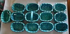 "Lot 13 Mini Teal BASKETS 6"" Basket WEAVE Party OVAL CRAFT Centerpiece Wedding"
