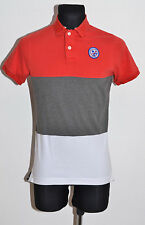 MENS SUPERDRY POLO SHIRT SHORT SLEEVED GREY RED STRIPED SLIM SIZE S SMALL EXC