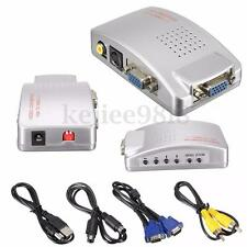 Laptop PC VGA to TV AV LCD RCA S-Video Signal Adapter Converter Box +Video Cable
