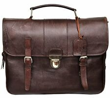 $1150 Bloomingdales Brown Distressed Leather Front Flap Briefcase VINTAGE BAG