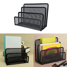 Black Mesh Letter Paper File Storage Rack Holder Tray Organiser Desktop OfficeLD