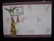 """CURLY GIRL STICKY NOTES """"GOING OUT FOR PIZZA"""" SET/40 4"""" X 3"""" NEW IN PACKAGE"""