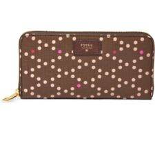 SL6696603 NEW Fossil Original Sydney Brown & Pink Dot Sydney Zip Clutch £49