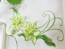 LILY FRAGRANCY 3pcs EMBROIDERY kitchen curtain set. SAGE color.