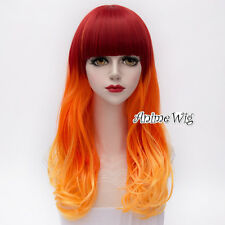 Red Mixed Orange 55CM Curly Long Anime Cosplay Party Heat Resistant Full Wig