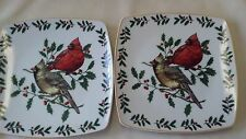 """Living Quarters Cardinal Dessert Plates or Luncheon Set of 4-8"""" Holiday Plates"""