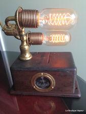 Steampunk table lamp light brass diesel industrial handmade recycled wood meter