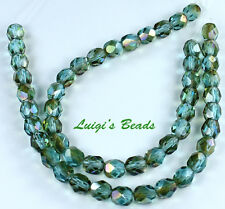 25 Aquamarine-Celsian Czech Firepolished Faceted Round Glass Beads 6mm