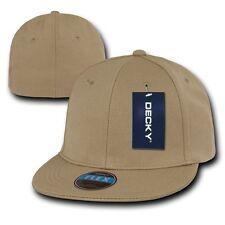 Khaki Tan Blank Solid Flex Retro Flat Bill Fit Fitted Golf Baseball Cap Hat