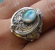 925 Sterling Silver-LL04-Bali Carved Poison/Wish Locket Ring & Opal Size 9
