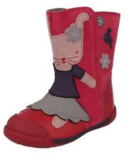 CLARKS Nibbles Pink Berry Iva Friend First Boots Leather Suede Rabbit Bunny 5.5F