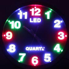 26cm bunte LED Uhr Analog rund Wanduhr Quarzuhr Buntuhr Runduhr Buntuhr