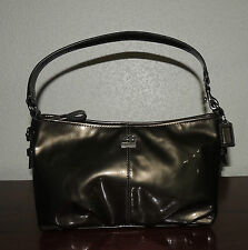NWT Coach Madison Demi Pewter Patent Leather Top Handle Purse 46619 Evening Bag