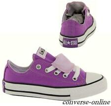 KIDS Girls Boy CONVERSE All Star PURPLE DOUBLE TONGUE Trainers Shoe UK SIZE 12.5