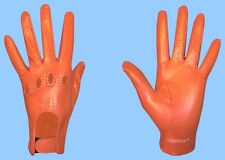 NEW WOMENS size 8.5 or XXL GENUINE ORANGE LAMBSKIN LEATHER DRIVING GLOVES