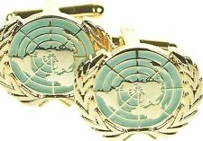 UN UNITED NATIONS BLUE CLASSIC HAND MADE REGIMENTAL CUFFLINKS