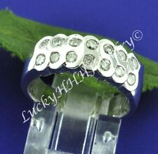 AWESOME 0.61ct ladies DIAMOND RING WIDE BAND WHITE GOLD 18k made in USA