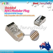 10x Shielded Goldplated RJ45 CAT6 CAT5 CAT5E Modular Plug Network Connector 8P8C