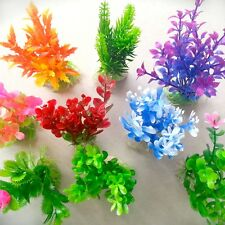 10pc Mixed Plastic Aquarium Multicolor Plants Fish Tank Grass Ornament
