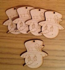 5 Wooden Snowman Baubles Blank .christmas Tree Decoration Mdf Craft Shape