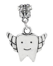 Winged Flying Tooth Fairy Dentist Dangle Bead for Silver European Charm Bracelet