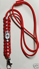 Registered Nurse with Caduceus & RN emblem handmade Red & White paracord lanyard