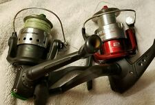 Set of 2 Shakespeare Matzuo Spinning REELS Red Green Lot Fishing Working Boat