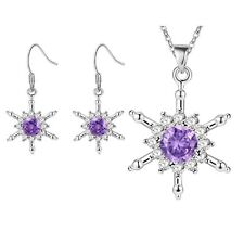 Ladies 925 Sterling Silver Crystal Charm Snowflake Star Necklace Pendant Set