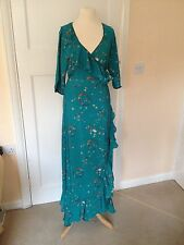 NWOT RRP £112 Anami & Janine Wrap Fishtail 3/4 Sleeve Green Dress Size M Tall